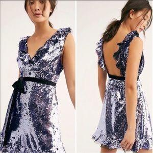 Free People Sequin Velvet Siren Dress Purple Sz 10